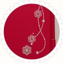 モデルロイヤルベーシックの大マチの花の刺繍