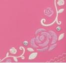 銀糸のバラの刺繍