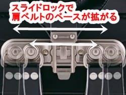 スライドロックで肩ベルトの付け根の幅が拡がり背負って安定する